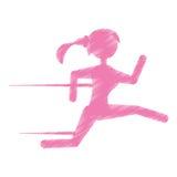 Silhouette girl running jogging sport Stock Image