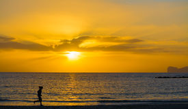 Silhouette of a girl running by the sea at sunset Stock Photography