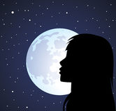 Silhouette of girl's face Stock Image