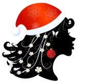 Silhouette of a girl in santa Profile Stock Photos