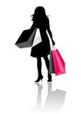 Silhouette girl shopping Stock Photo