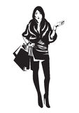 The silhouette of a girl with shopping bags. Vector illustration Royalty Free Stock Images