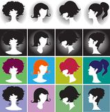 Silhouette girl, Elegant Female Hairstyles Royalty Free Stock Photo