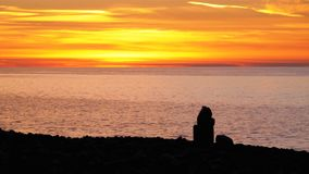 Silhouette of a girl sitting on the beach at sunset and uses smartphone stock footage