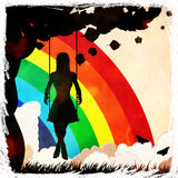 Grunge girl on swing and rainbow Stock Photography