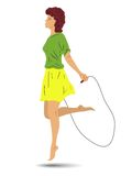 Silhouette girl skipping rope Stock Photography