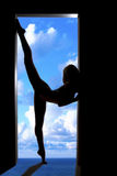 Silhouette girl sports Royalty Free Stock Images