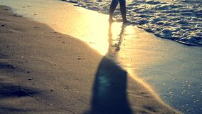 The girl is standing near the sea and waves roll her on her feet in the morning stock footage