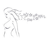 Silhouette Of A Girl With Stardust Royalty Free Stock Photography
