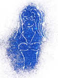 Silhouette of a girl in swimsuit of blue glitter on white background Stock Image
