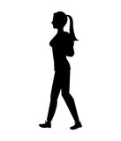 Silhouette girl tail hair walking side. Walking vector illustration eps 10 Stock Photography