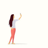 Silhouette Girl Taking Selfie Photo On Smart Phone Stock Images