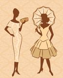 Silhouette of girl with umbrella. Vintage silhouette of girl with umbrella royalty free illustration