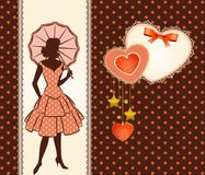 Silhouette of girl with umbrella. Vintage silhouette of girl with umbrella vector illustration