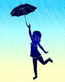 Silhouette girl with umbrella. Silhouette girl with umbrella in rain Stock Photos