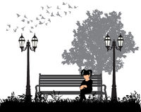 Silhouette of a girl. Vector  silhouette of a girl sitting on the bench Stock Photos