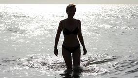 Silhouette of a girl in the water Royalty Free Stock Images