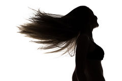 Silhouette of girl with waving hair in profil Stock Photos