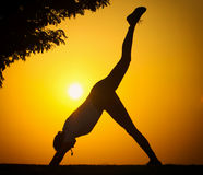 The silhouette of a girl who exercise fitness Stock Image