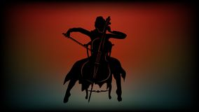 Silhouette of a girl who plays the cello sitting on a chair stock illustration