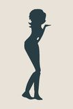 Silhouette of a girl who sends an air kiss. Vector Illustration Stock Image