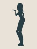 Silhouette of a girl who sends an air kiss. Vector Illustration Stock Photo