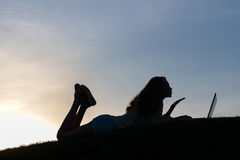 Silhouette of the girl. Stock Photos