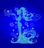 Silhouette of a girl winter Royalty Free Stock Image