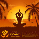 Silhouette of a Girl in Yoga pose. On Summer background with palm tree, dolphin and yacht, element for design, vector illustration Royalty Free Stock Photo