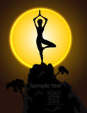 Silhouette of a girl in a yoga pose Stock Photos