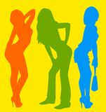 Silhouette of girls Stock Image