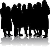 Silhouette of girls. Black silhouette of girls on white background Stock Image