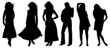 Silhouette of girls Royalty Free Stock Photos