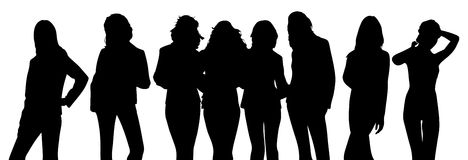 Silhouette of girls Stock Photography