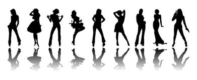 Silhouette of girls Royalty Free Stock Images