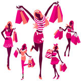Silhouette of girls with bags Stock Photo