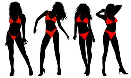 Silhouette of girls in bikinis Stock Images