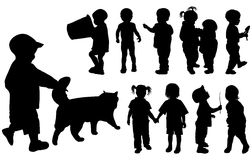 Silhouette girls and boys, vector. Silhouette girls and boys (age of children - from a year up to two), vector illustration Stock Photos
