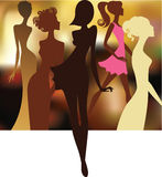 Silhouette of girls on colorful background Stock Image