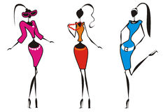 Silhouette_girls con accessories1 Imagen de archivo