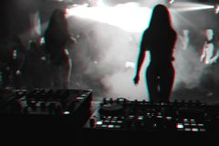 Free Silhouette Girls Dancers On Stage In Nightclub On Background Music The Mixer DJ Royalty Free Stock Photo - 151278065