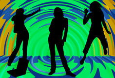 Silhouette of Girls Listening to Music Stock Image