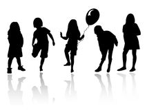 Silhouette girls playing. Vector silhouette girls and boys, illustration Stock Photography