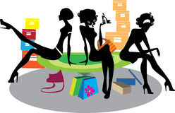Silhouette girls in shop stock illustration