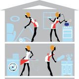 Silhouette of girls who do homework, housewives in house, cleaning girl, ironing girl, cooking girl. Vector illustration of silhouette of girls who do homework Stock Photos