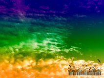 Silhouette glass bar code and sunset in the dark sky Stock Photo