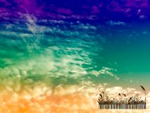Silhouette glass bar code and sunset sky in the evening Stock Photo