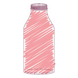 Silhouette glass bottle with red stripes Stock Photo