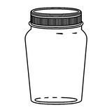 Silhouette glass container of jam with lid Stock Photos