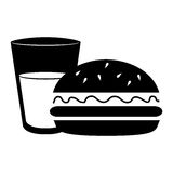 Silhouette glass cup drink and hamburguer food Royalty Free Stock Photo